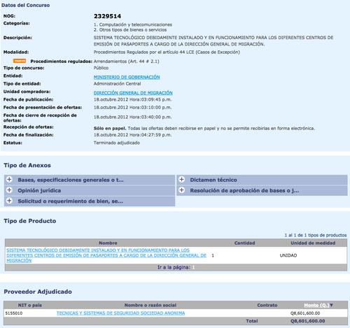 Contrato que Migración firmó con la empresa TSS, Sociedad Anónima. (Foto: Guatecompras)