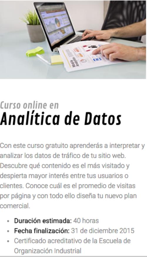 Entre los cursos a disposición se encuentra el de Analítica de Datos, el cual tiene una duración de 40 horas. (Foto: Google)