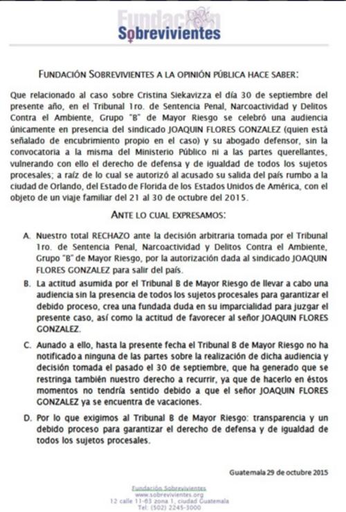 En un comunicado de prensa la Fundación Sobrevivientes denunció las anomalías.  (Foto: Twitter)