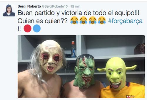 Sergi Roberto compartió en su cuenta de tuiter esta foto.