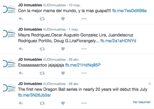 La cuenta de Twitter de JD Inmuebles no se limita a las publicaciones de tipo laboral.