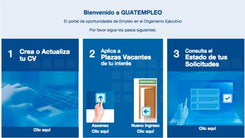 El portal permitirá ingresar la hoja de vida y llenar solicitudes de empleo para laborar en el Estado. (Foto: Guatempleo)