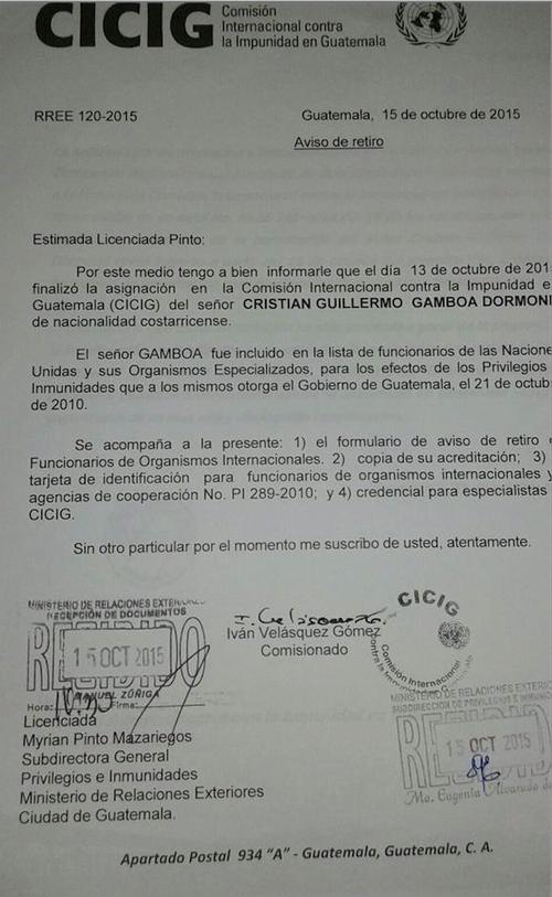 CICIG notificó al Ministerio de Relaciones Exteriores de la salida de los abogados costarricenses de la entidad en octubre.