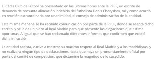Comunicado publicado en la página oficial de El Cádiz Club de Fútbol. (Imagen: cadizcf.com)