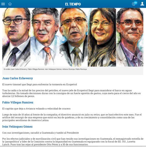 En la publicación de El Tiempo, figura Velásquez junto a otros personales.  (Foto:  Soy502)