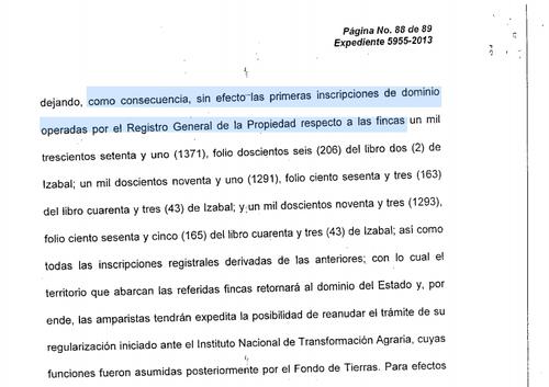 Vista de la parte resolutiva de la Corte de Constitucionalidad (CC) que fallo a favor de las comunidades de la Sierra Santa Cruz en Izabal.