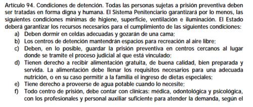 Fragmento de Artículo 94 de la Ley de Régimen Penitenciario.