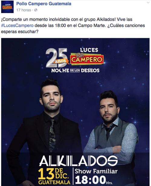 El grupo colombiano Alkilados ambientará el show con su música. (Foto: perfil Facebook de Pollo Campero Guatemala)