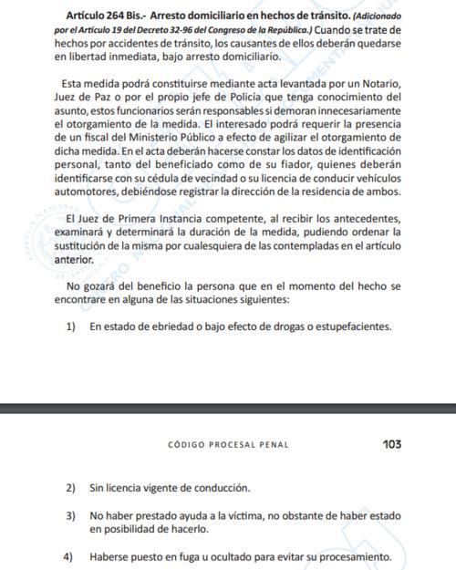Artículo relacionado con la no aplicación de la medida sustitutiva.