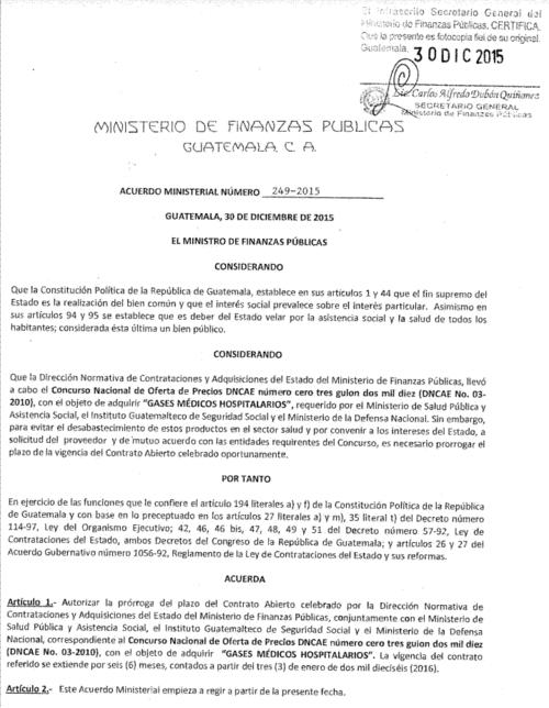 Esta es la ampliación del contrato que autorizó Finanzas, el pasado 30 de diciembre de 2015.