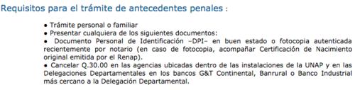 Requisitos para solicitar antecedentes penales.