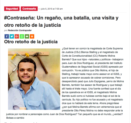 La revista Contrapoder publicó que Espigares López fue asesor del hoy detenido Juan de Dios Rodríguez, ex presidente del IGSS.