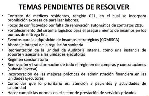 Listado de temas pendientes, según autoridades del Ministerio de Salud.