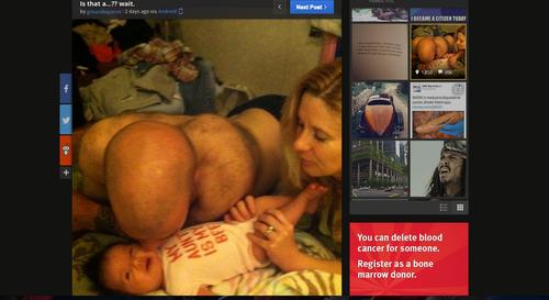 Algunos ven un trasero peludo y otros a un padre  tratando de besar a su bebé recién nacido. (Foto: Imgur)