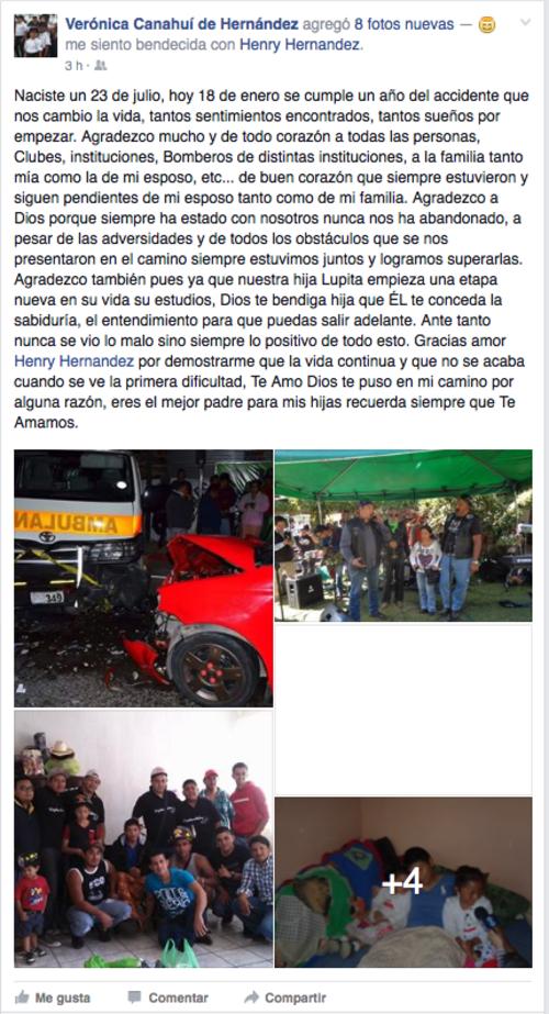 Verónica Canahuí de Hernández, esposa de Henry escribió un emotivo mensaje en su cuenta de facebook.