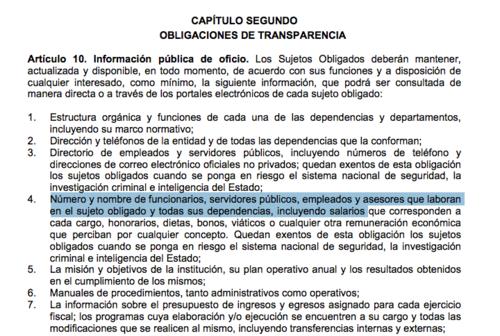En este apartado se señalan las obligaciones de las dependencias. (Foto: Soy502)