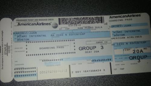 Boleto confiscado al hoy detenido en el aeropuerto de San Pedro Sula. (Foto: Ministerio Público)