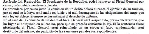 Esta es la legislación actual, que permite al Presidente remover al Fiscal General del MP si considera que tiene un mal desempeño.
