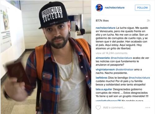 Con esta imagen Nacho muestra que le anularon su pasaporte. (Foto:@nacholacriatura)