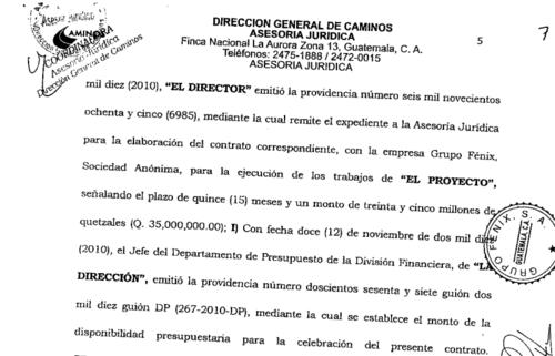 Contrato de la Dirección General de Caminos con la Empresa Grupo Fénix. (Foto: Guatecompras)