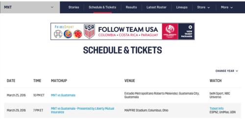 En el anuncio de los partidos recientes para las diversas selecciones estadounidenses de futbol, se menciona el estadio Roberto Meléndez, como sede del Guatemala - Estados Unidos. (Foto: Ussoccer)