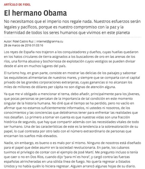 El artículo fue firmado por Fidel Castro a las 22:27 del 27 de marzo. (Foto: Granma.com)