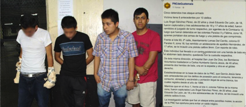Este es el reporte de la PNC, tras la captura de Luis Ángel Sánchez y cuatro persona más. (Foto: PNC)