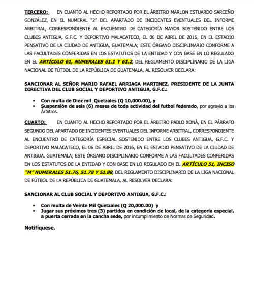 Esta es la resolución del Órgano Disciplinario de la Liga Nacional donde se notifica la suspensión presidente de Antigua GFC, Rafael Arriaga. (Foto: Soy502)