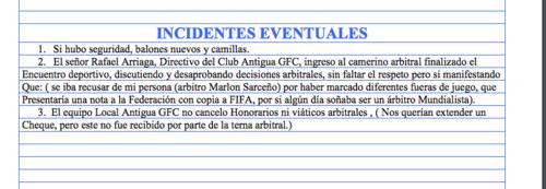 Este es el reporte arbitral de Marlon Sarceño, contra Rafael Arriaga. (Foto: Soy502)