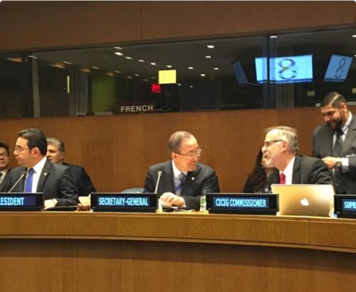 El presidente de la ONU se reunió este lunes con el presidente Jimmy Morales y el comisionado de la CICIG Iván Velásquez. (Foto: CICIG)