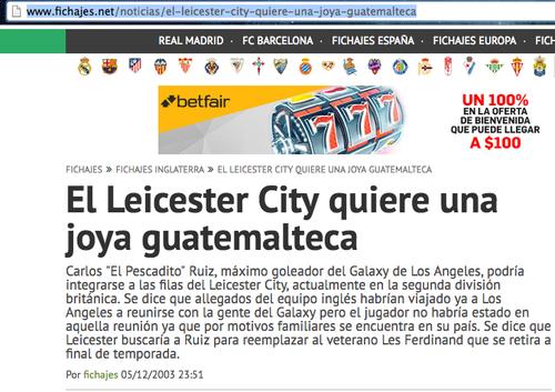 Publicación original con la noticia del Leicester y sus intenciones por fichar a Carlos Ruiz.