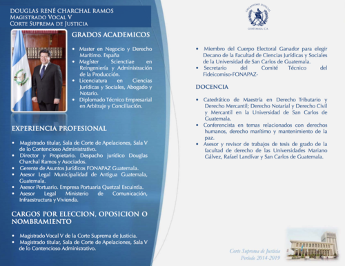 En el perfil de Charchal subido al portal web del Organismo Judicial se consigna su pasado en la Empresa Portuaria Quetzal.