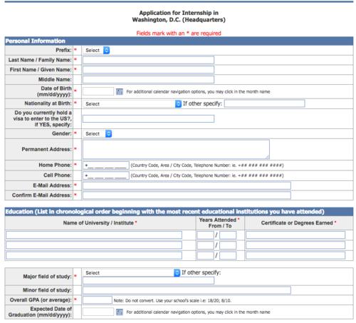 Este es el formulario que debes llenar si te interesa aplicar a esta pasantía. (Foto: oas.org)
