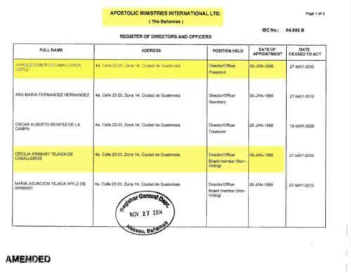 El documento muestra que Harold Caballeros es director de dicho ministerio desde enero de 1999. (Foto: Reportaje Univisión)