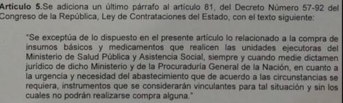 Este párrafo se le añadiría a la ley actual, con lo que el Ministerio de Salud tendrá vía libre para fraccionar sus gastos.