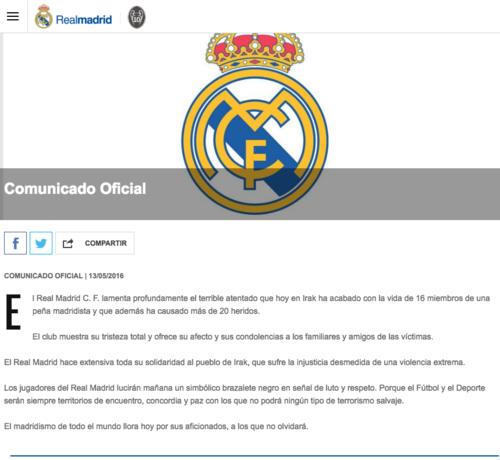 Este es el comunicado oficial del Real Madrid con relación al ataque terrorista contra seguidores del club merengue en Irak. (Foto: Real Madrid)