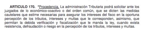 Fragmento del Artículo 170 del Código Tributario.