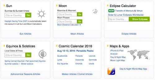 El sitio Time and Date te da una lista de las horas en las que el sol, la luna y los planetas aparecen.