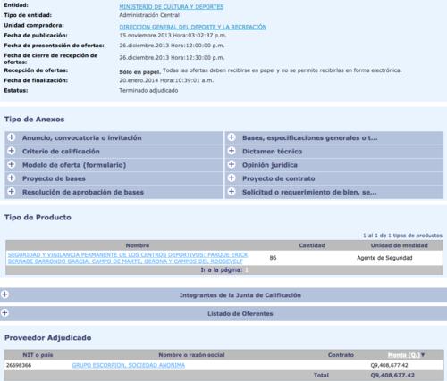 Captura de uno de los contratos adjudicados por el Ministerio de Cultura a Grupo Escorpión.