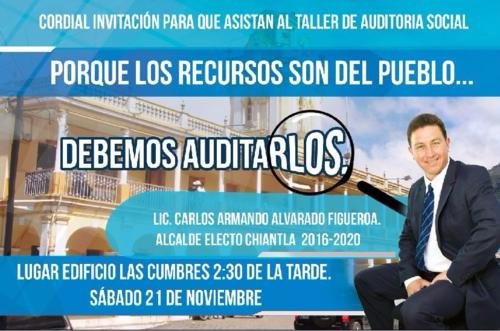 En noviembre de 2015, el alcalde señalado de sustraer fondos del Congreso impartió un taller de auditoría social. (Foto: Chiantla Info)