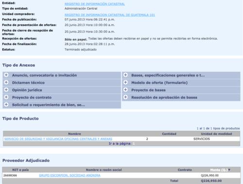 Aunque Monzón no lo menciona, entre los contratos del RIC también figura algunos adjudicados a Grupo Escorpsión, empresa ligada a uno de sus amigos, por concepto de seguridad. (Foto: Guatecompras)