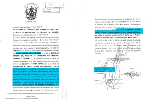 El amparo fue otorgado a favor de Baldetti con el voto disidente de la magistrada Escobar.