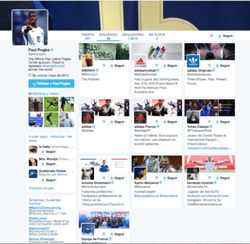 Entre las 10 cuentas seguidas por Pogba en Twitter, no figura la Juventus. (Imagen: Captura de pantalla)