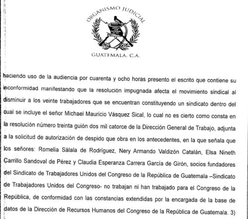 Vásquez intentó formar un sindicato con firmas falsas.