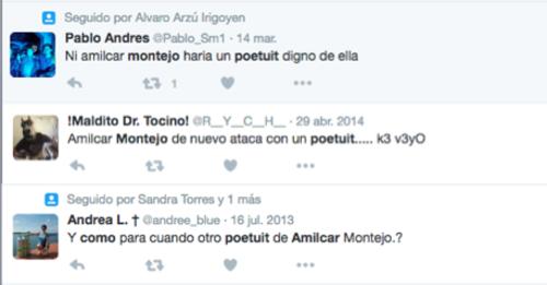 Algunos de los comentarios de usuarios de redes sociales respecto a los poetuits de Montejo.