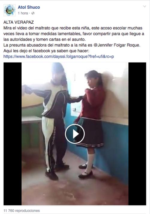 En la red social Facebook circula un video sobre supuesto acoso escolar en Alta Verapaz. (Foto: Captura de Imagen)