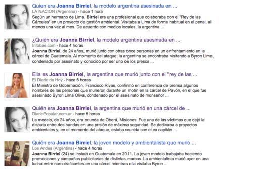 La muerte de Joanna Birriel acaparó la atención de muchos medios electrónicos, principalmente en Argentina, de donde era originaria la modelo.