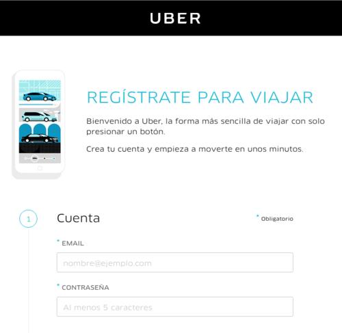 Formulario para ser usuario de Uber. (Foto: Uber.com)