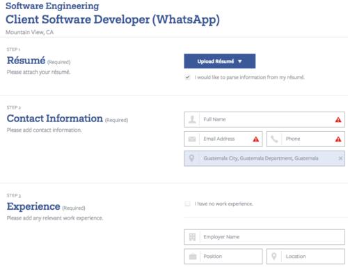 Esta es la primera fase que debes llenar a través de tu cuenta de Facebook.
