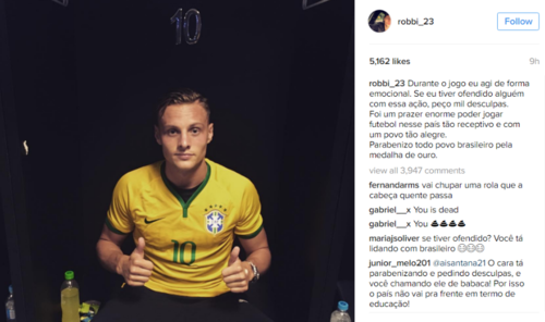 Así se disculpó Robert Bauer en su Instagram, antes de borrar la publicación.
